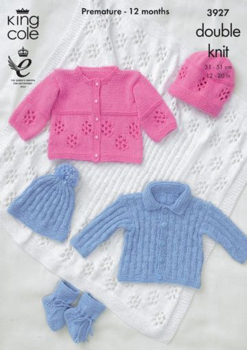 Jacket, Hat, Bootees and Shawl Knitting Pattern King Cole 3927,. Prem to 12 months